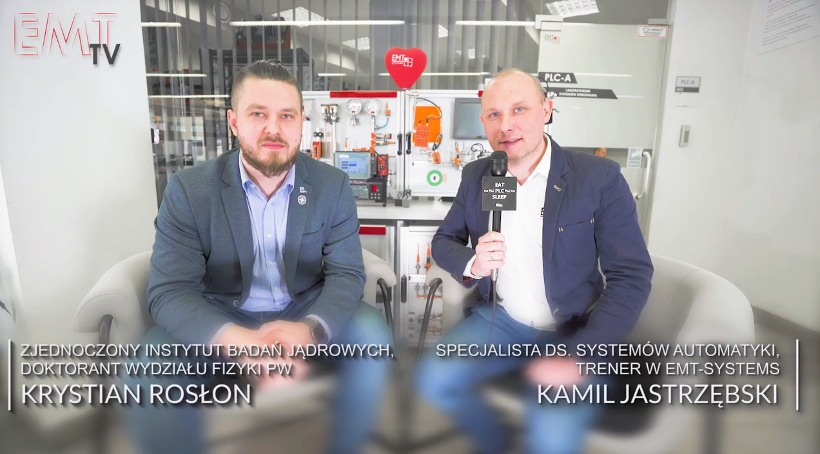 EMT TV Rozmowy z kursantami, wywiad trenera EMT-Systems Kamila Jastrzębskiego z Krystianem Rosłonem ze Zjednoczonego Instytutu Badań Jądrowych, doktorantem Wydziału Fizyki PW