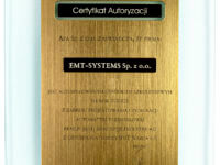 Certyfikat autoryzacji dla EMT-Systems jako ośrodka szkoniowego z zakresu automatyki przemysłowej z użyciem platformy NAZCA 4.0