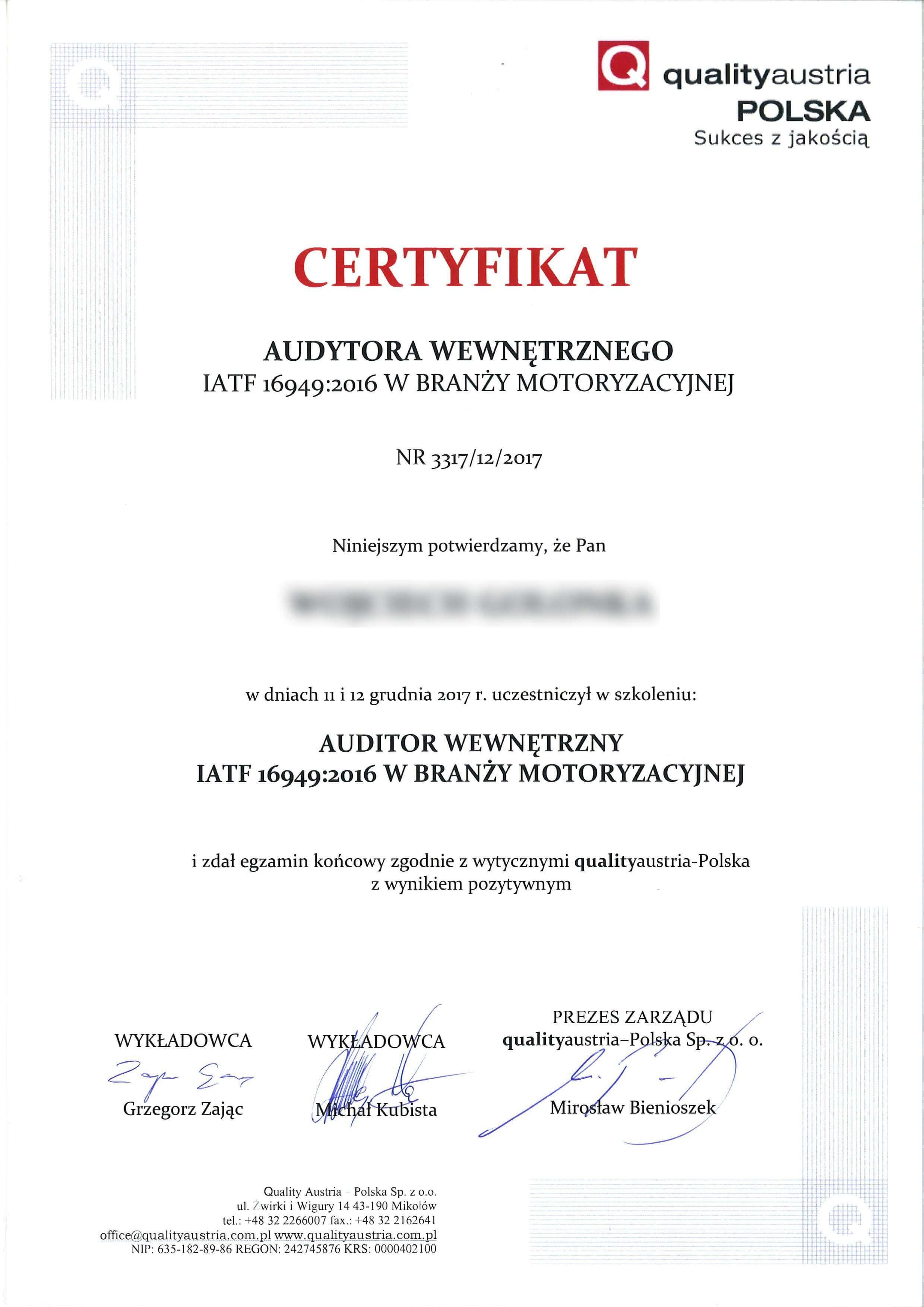 Certyfikat audytora zewnętrznego